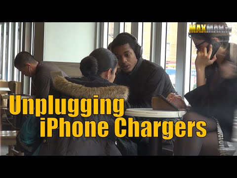 Unplugging iPhone chargers prank - Maxmantv