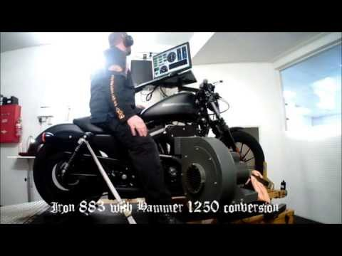 Iron 883 with Hammer Performance 1250 conversion - on the dyno...