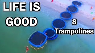 LINE OF TRAMPOLINES TO THE OCEAN!!! | JOOGSQUAD PPJT