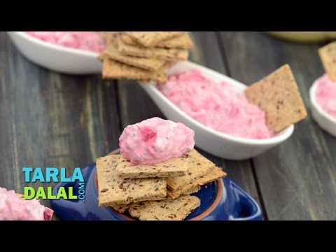 Flax Seed Crackers with Beetroot Dip (Healthy Snack) by Tarla Dalal