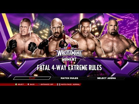 Wwe 2k14 - Ryback Vs Batista Vs Brock Lesnar Vs Goldberg Fatal 4 Way Wrestlemania 30 On Legend video