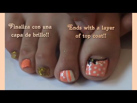 Diseños de uñas:pedicure polka dots// Polka dots toe nail art design