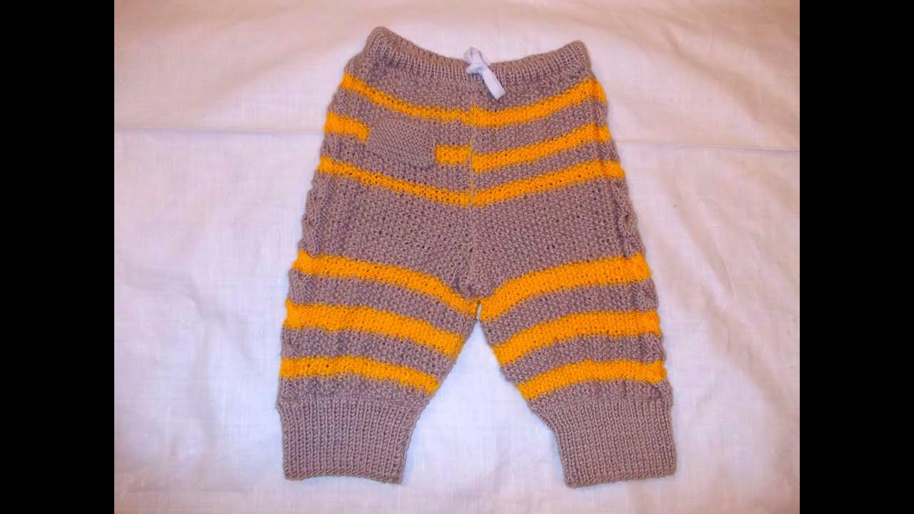 Как связать спицами штанишки для малыша 63