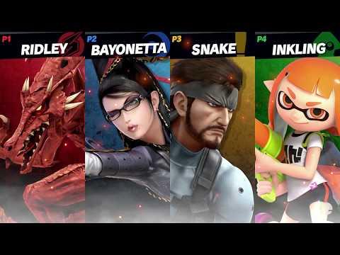 Super Smash Bros. Ultimate Gameplay (E3 2018) Ridley vs Snake vs Inkling Girl