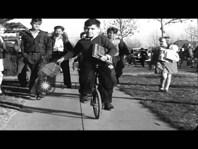 Pete Mole rides a unicycle to school in Los Angeles, California. HD Stock Footage