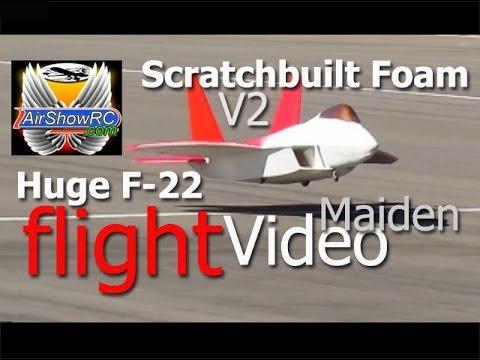 Huge F-22 Scratch Built Foam V2 90mm EDF Maiden Flight No Crash