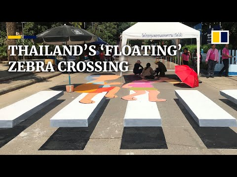 Thailand's 'floating' pedestrian crossing road-safety scheme