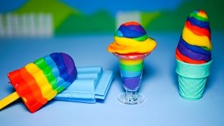 Play Doh clay toys ice cream - Ice cream cups and ice cream sticks rainbow colors