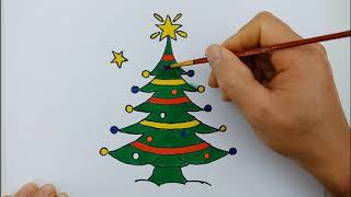 Learn Drawing And Color Christmas Tree | Fun Art Coloring Videos For Kids