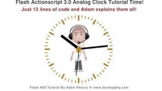 Flash Tutorial Analog Clock Actionscript 3.0 CS5.5 CS4 CS3 Round Wall Clock Animation