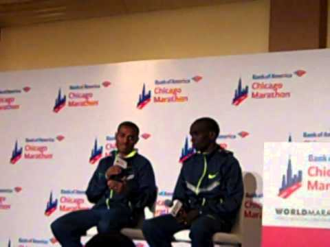 Kenenisa Bekele And Eliud Kipchoge At Chicago 2014 Press Conference