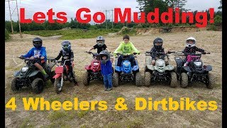 7 Kids Go Mudding on thier quads