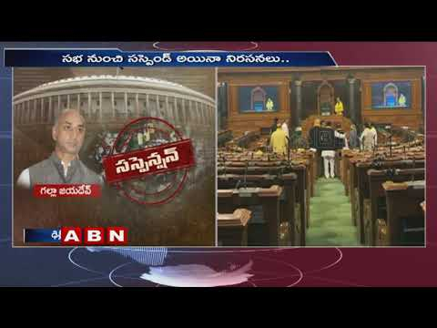 Suspended TDP MPs protest outside parliament | ABN Telugu