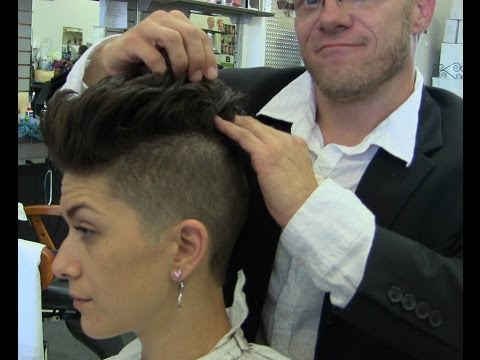 Short sexy shaved womans haircut video Pink inspired
