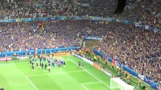 Iceland Players celebrating together with Fans | Euro 2016
