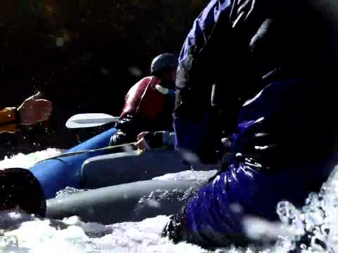 Rafting POV - Upper Gauley Raft Surfing In Helicopter Hole 2800cfs