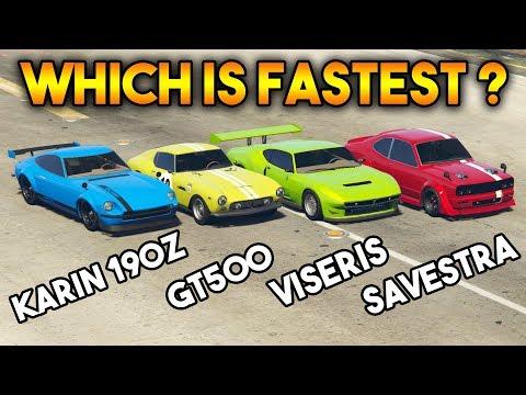 GTA 5 ONLINE : KARIN 190Z VS VISERIS VS GROTTI GT500 VS SAVESTRA (WHICH IS FASTEST ?)