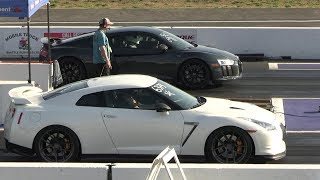 Audi R8 vs GTR & vs Supra - drag race of supercars