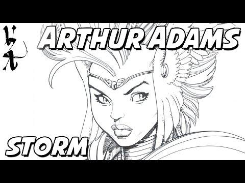 Arthur Adams drawing Storm - Queen of Asgard