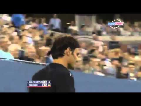 Roger Federer fantastic hotdog shot and Michael Jordan Smiles  Matosevic vs Federer HD US Open
