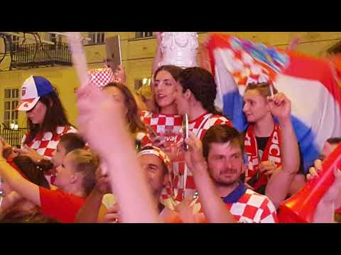 Croatian football fans in celebration on the main square - Mundial 2018 Russia -1/2- Zagreb, Croatia thumbnail