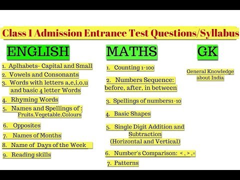 Class 1 Entrance Exam Questions,Topics and how to Prepare your child|Admission Test questions Class1 thumbnail