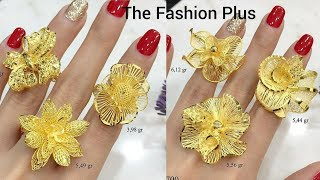 Shiny Flower Designs Gold Ring with WEIGHT