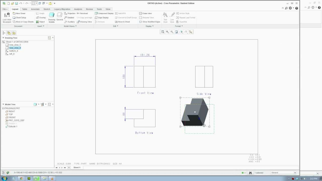 Creo 2 Tutorial Creating Technical Orthographic Drawing