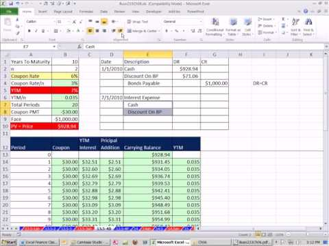 Excel Finance Class 53: Bond Discount Or Premium Journal Entries
