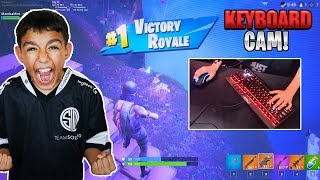 My 10 Year Old Little Brother Get's A Fortnite SOLO Win With KEYBOARD CAM!