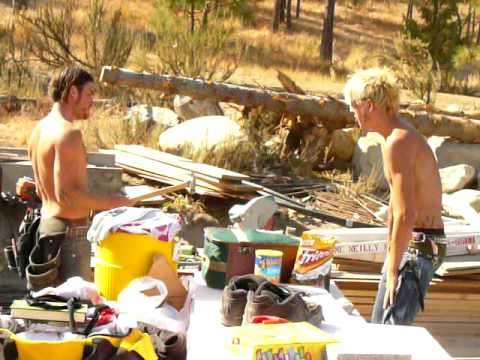 shirtless guys work and play