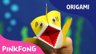 How to Make an Origami Baby Shark Puppet | Animal Song With Origami | PINKFONG Songs for Children