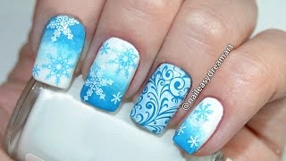 DIY Christmas Nails | Snowflakes Nail Art Tutorial | Маникюр на Новый Год