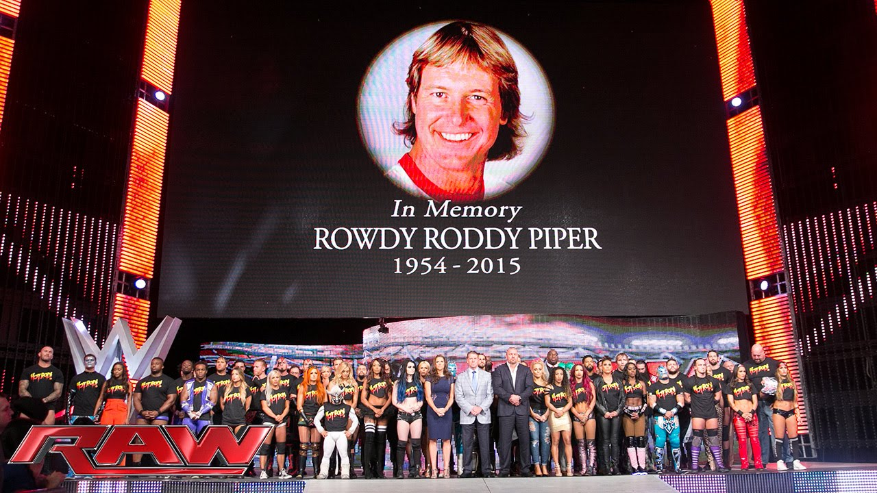 """The entire WWE roster honors WWE Hall of Famer """"Rowdy"""" Roddy Piper: Raw, Aug. 3, 2015"""