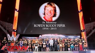 The entire WWE roster honors WWE Hall of Famer Rowdy Roddy Piper Raw Aug 3 2015