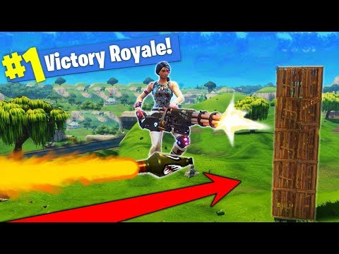 ROCKET RIDING WITH A MINIGUN In Fortnite Battle Royale!