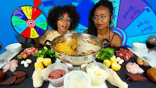 HOT POT SPIN THE WHEEL MUKBANG | UNIQUE ADDITIONS INCLUDING PORK BLOOD, BEEF THROAT AND MORE!