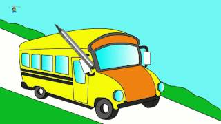"Learning colors. Coloring book ""Colorful vehicles!"". Let's color a bus!"