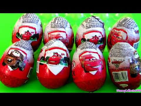 ★ 8 CARS 2 Kinder Surprise Eggs Disney Pixar Lightning McQueen Mater cartoys Zaini Easter Egg