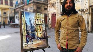 Live Old street watercolor painting, tutorial for beginners M Kazmi Studios