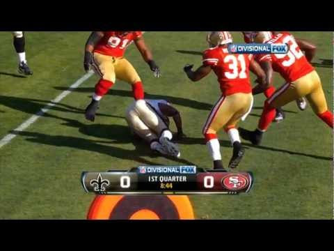Amazing hit on Pierre Thomas by the 49ers safety Whitner. This would eventually be a game winning hit.