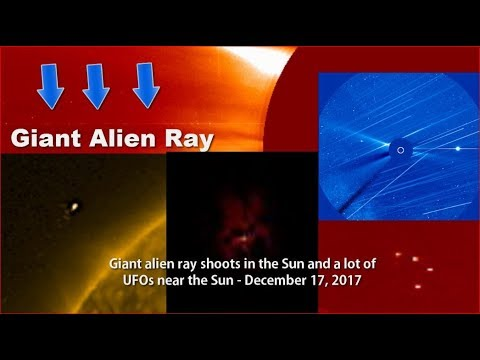 Giant alien ray shoots in the Sun and a lot of UFOs near the Sun - December 17, 2017