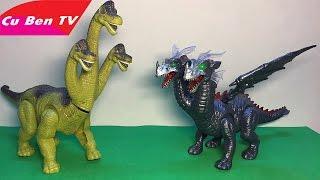 Khủng Long 2 đầu chạy đua với Khủng Long 3 đầu - Đồ chơi - Third-head Dinosaur | Cu Ben TV
