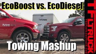 2017 Ford F-150 EcoBoost 10-Speed vs Ram 1500 EcoDiesel 8-Speed Towing MPG Review