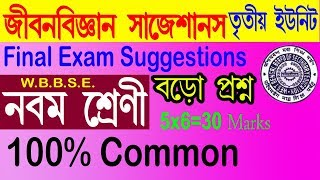 CLASS 9_LIFE SCIENCE FINAL EXAM SUGGESTION 2018//Class ix life science 3rd Evaluation Suggestion