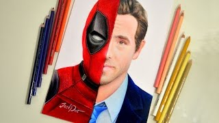 Deadpool / Ryan Reynolds speed drawing by colored pencils