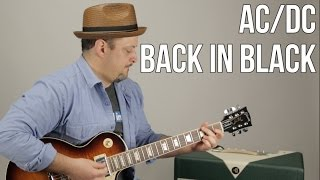 Ac Dc Back In Black Guitar Lesson How To Play Electric Guitar Tutorial