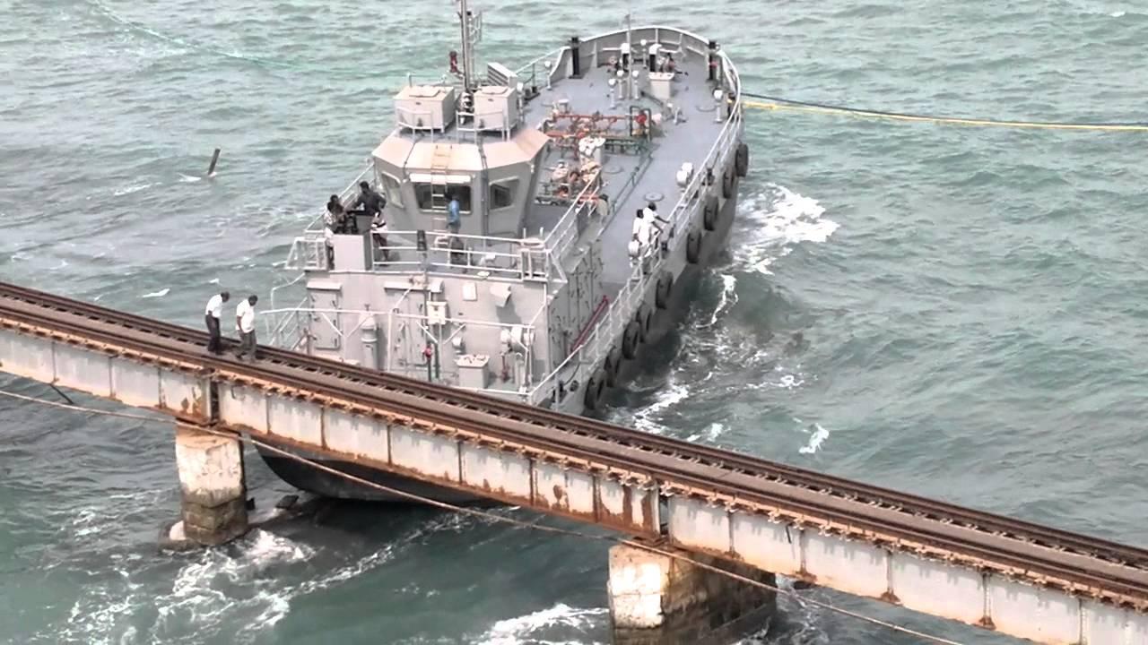 Ship Hits Pamban Rail Bridge 1 Youtube