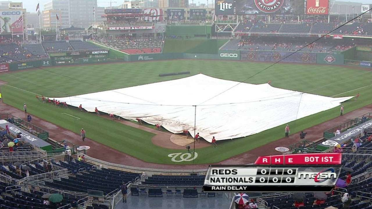 CIN@WSH: Umpires call for the tarp in the 1st