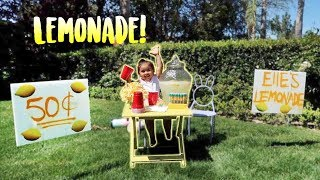 ELLE'S FIRST LEMONADE STAND!!! (SHE EARNS REAL MONEY)